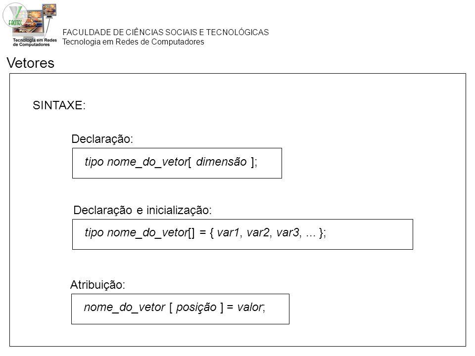 Vetores SINTAXE: Declaração: tipo nome_do_vetor[ dimensão ];